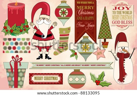 Set of Christmas Clip Art Images and Banners, with Christmas Pattern and Vintage Christmas Background: Santa Claus, Snowman, Christmas Tree, Ornaments, Holly, Christmas Gift, Candle, Stocking, Labels