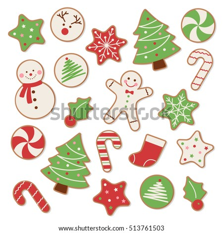 set of christmas cookies vector