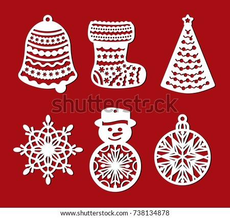 set of christmas decoration bell sock xmas tree snowflake snowman set of laser cut - Wooden Laser Cut Christmas Decorations