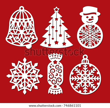 set of christmas decoration bell xmas tree snowman snowflake candy laser cut template - Wooden Laser Cut Christmas Decorations