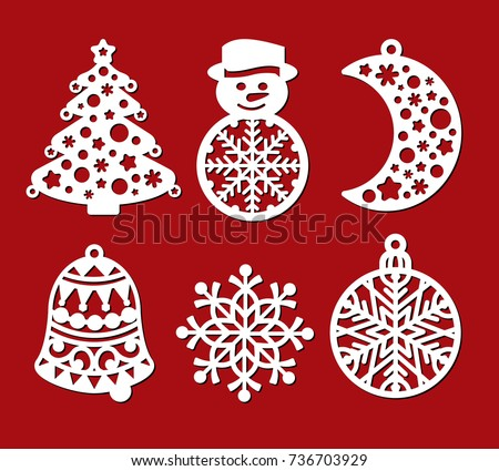 set of christmas decoration xmas tree snowman crescent bell snowflake