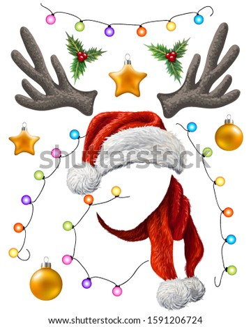 Set of Christmas decorations. Christmas decorations-Christmas balls, Santa Claus hat and scarf, antlers, Holly, Christmas tree garland with colorful lights.