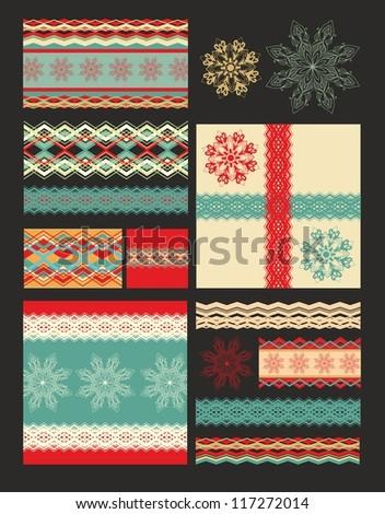 set of christmas decorative elements