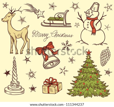 Set of Christmas design elements in retro style