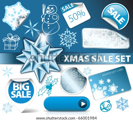 Set of Christmas discount tickets, labels, stamps, stickers, corners, tags