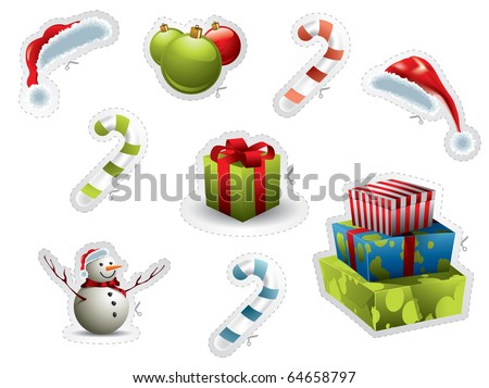 Set of Christmas elements isolated on white with scissor