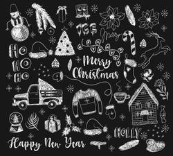 Set of Christmas elements painted chalk on blackboard.