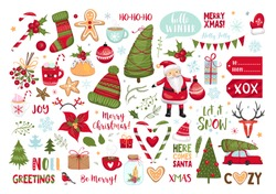 Set of Christmas elements. Snowflakes, Santa Claus, christmas tree, gifts, calligraphy, lettering, animals and other elements. Vector illustration.