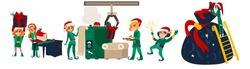 Set of Christmas elves working, making presents in Santa workshop, flat cartoon vector illustration isolated on white background. Santa helpers, elves making Christmas presents in workshop