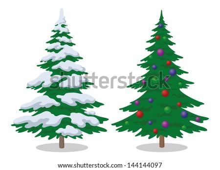 set of christmas fir trees with