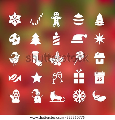 set of 25 christmas flat icons on abstract background