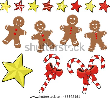 set of christmas ginger cookies with candy canes and stars for xmas decoration, isolated on white background