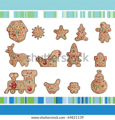 set of Christmas gingerbread cookies  with ornamental