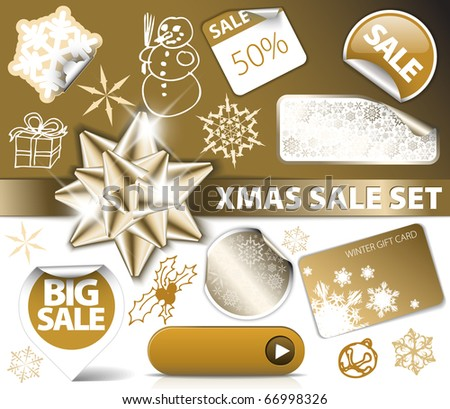 Set of Christmas golden discount tickets, labels, stamps, stickers, corners, tags