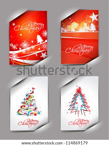 set of christmas greeting card with presentation design.