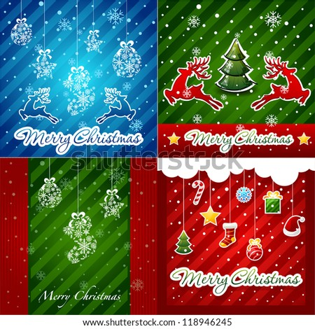 set of Christmas Greeting Cards.Merry Christmas lettering, vector illustration