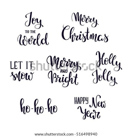 set of christmas hand lettering