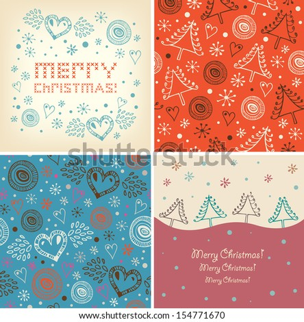 Set of Christmas holiday banners. Collection of xmas decorative elements