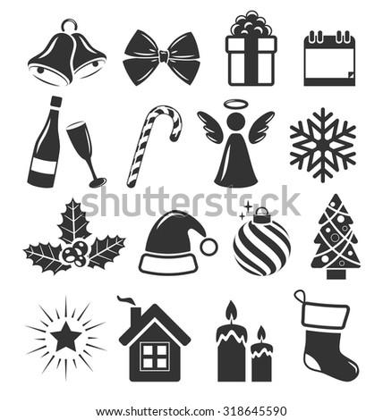 set of christmas holidays icons
