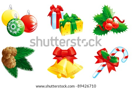 "Set of christmas icon. Vector christmas ""clip art"" by hand bells with bow, baubles, gifts, fir branch with cone, christmas candy cane  and holly decoration."