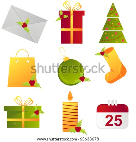 set of 9 christmas icons