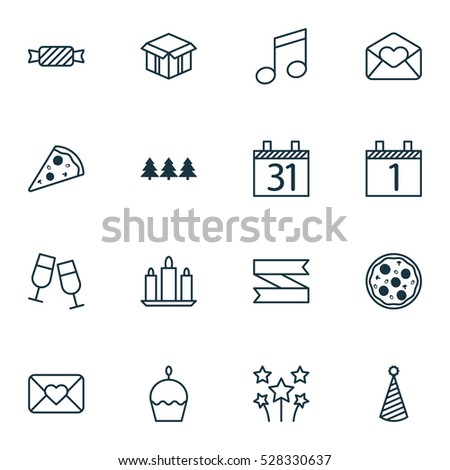 Set Of 16 Christmas Icons. Can Be Used For Web, Mobile, UI And Infographic Design. Includes Elements Such As Pizza Meal, Sliced Pizza, Holiday Ornament And More.