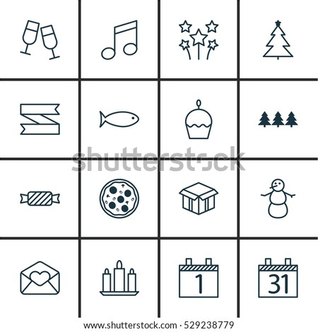 set of 16 christmas icons can