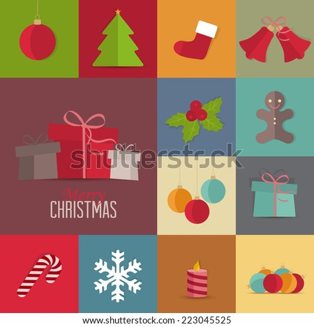 Set of Christmas icons Christmas retro card