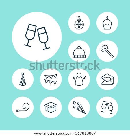set of 12 christmas icons