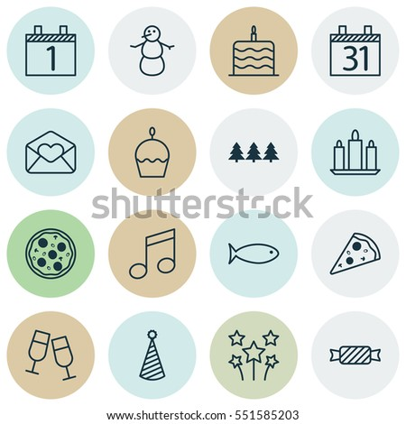 Set Of 16 Christmas Icons. Includes Greeting Email, Champagne Glasses, Holiday Ornament And Other Symbols. Beautiful Design Elements.