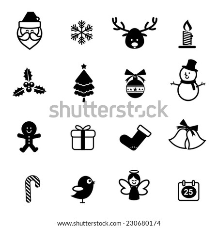 Set of Christmas Icons Isolated on the White Background vector illustration for holiday