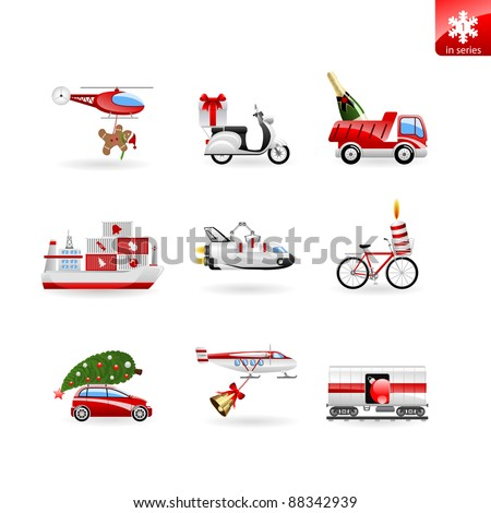 Set of 9 christmas icons on delivery, presents and transport. Various christmas objects and modes of transport.