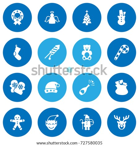 set of 16 christmas icons set