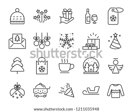 set of christmas icons, such as new year, celebration, december, cake