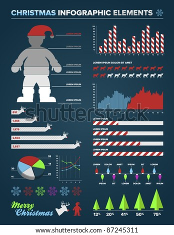 Set of christmas infographic charts, icons, and design elements