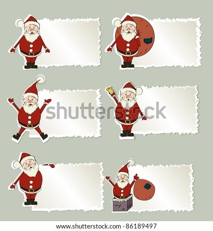 set of christmas label Santa Claus