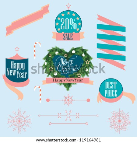 set of christmas labels and christmas wreath - stock vector