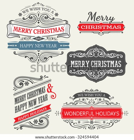 set of christmas labels with