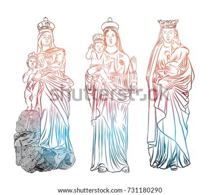 set of christmas nativity scene of virgin mary holding baby jesus