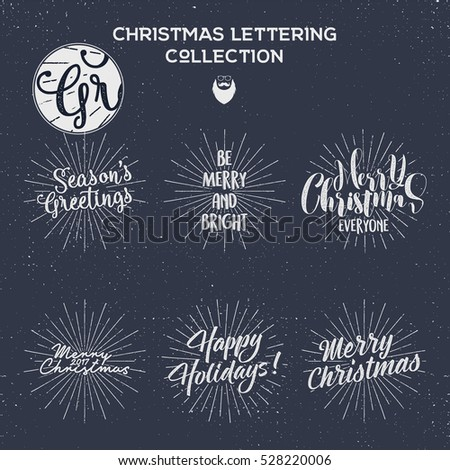 Set of Christmas , New Year 2017 lettering, wishes, sayings and vintage labels. Season's greetings calligraphy. Holiday typography design. Vector design. Letters composition with sun bursts, beard.