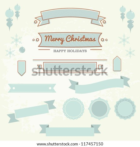 Set of christmas ornaments and decorative elements, vintage frames, labels, stickers
