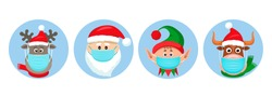 set of Christmas pandemic stickers. Santa Claus, deer, elf, bull in medical protective masks. funny icons of Christmas characters in the year of the bull. vector illustration isolated