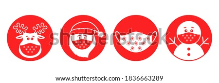 set of Christmas pandemic stickers. Santa claus, deer, snowman in medical protective masks. icons in flat linear style. vector illustration isolated on white background