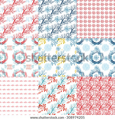 set of christmas patterns in