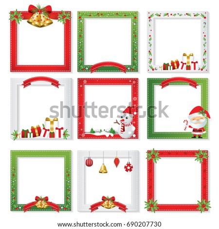 Set of Christmas photo frame vector, Border & frame design
