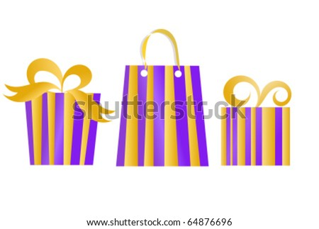Set of Christmas presents in purple color with golden stripes