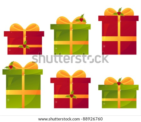 set of 6 christmas presents with berries