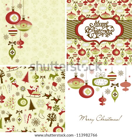Set of Christmas Retro backgrounds