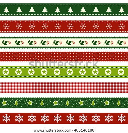 set of christmas ribbon patterns