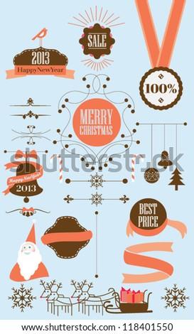 set of christmas ribbons